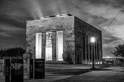 Photograph - Kansas City Memorial At Dusk - Missouri Black And White by Gregory Ballos