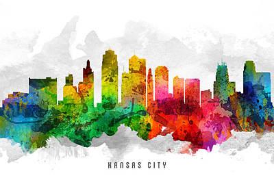 Towns Digital Art - Kansas City Missouri Cityscape 12 by Aged Pixel