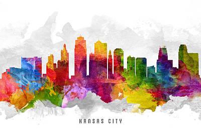 Towns Digital Art - Kansas City Missouri Cityscape 13 by Aged Pixel