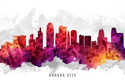 Towns Digital Art - Kansas City Missouri Cityscape 14 by Aged Pixel