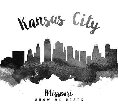Grunge Painting - Kansas City Missouri Skyline 18 by Aged Pixel