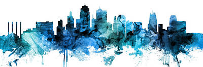 Digital Art - Kansas City Missouri Skyline Custom Panoramic by Michael Tompsett