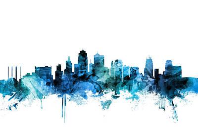 Kansas City Wall Art - Digital Art - Kansas City Missouri Skyline by Michael Tompsett