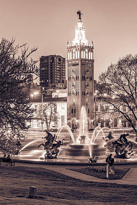 Photograph - Kansas City Plaza And J.c. Nichols Fountain - Sepia Edition by Gregory Ballos