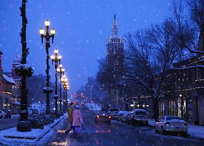 Streetlight Photograph - Kansas City Plaza At Christmas Time by Gillham Studios