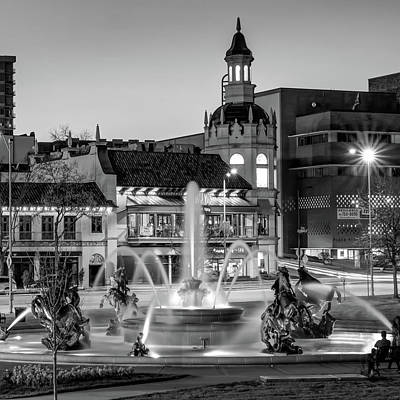 Photograph - Kansas City Plaza Jc Nichols Fountain At Dusk - Square - Black And White by Gregory Ballos