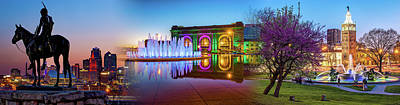 Photograph - Kansas City Scout - Union Station - J.c. Nichols Memorial Fountain Panorama Cityscape Collage by Gregory Ballos