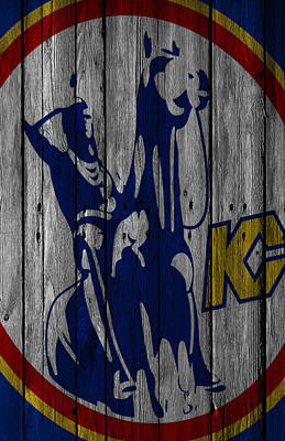Hockey Player Painting - Kansas City Scouts Wood Fence by Joe Hamilton