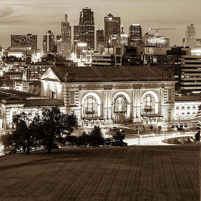 Photograph - Kansas City Sepia Toned Skyline - Square Format by Gregory Ballos