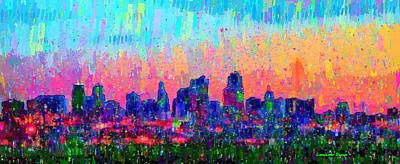 Crowd Digital Art - Kansas City Skyline 100 - Da by Leonardo Digenio