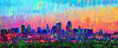 Vivid Painting - Kansas City Skyline 100 - Pa by Leonardo Digenio