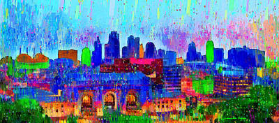 Scenery Digital Art - Kansas City Skyline 200 - Da by Leonardo Digenio