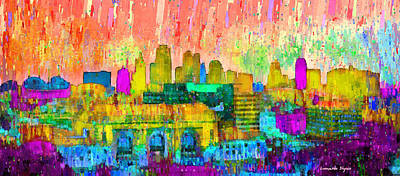 Kansas City Digital Art - Kansas City Skyline 201 - Da by Leonardo Digenio