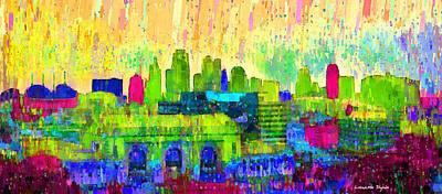 Urban Art Painting - Kansas City Skyline 202 - Pa by Leonardo Digenio