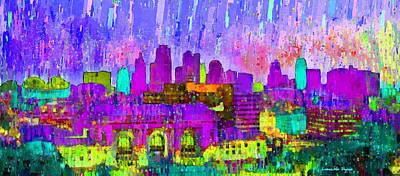 U.s Digital Art - Kansas City Skyline 203 - Da by Leonardo Digenio