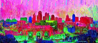 Crowd Digital Art - Kansas City Skyline 204 - Da by Leonardo Digenio