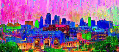 Tall Painting - Kansas City Skyline 205 - Pa by Leonardo Digenio