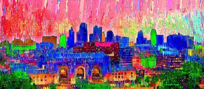 Skies Painting - Kansas City Skyline 206 - Pa by Leonardo Digenio