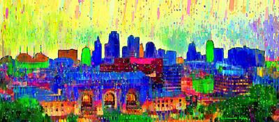 Element Digital Art - Kansas City Skyline 208 - Da by Leonardo Digenio