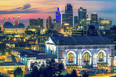 Photograph - Kansas City Skyline Architecture At Dusk by Gregory Ballos