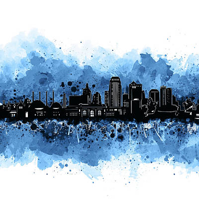 Digital Art - Kansas City Skyline Artistic 3 by Bekim Art