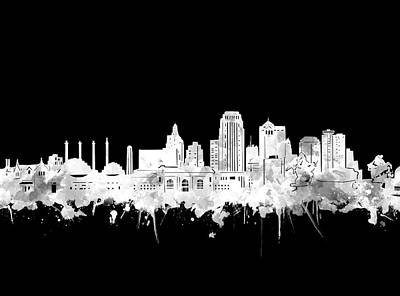 Digital Art - Kansas City Skyline Black And White 2 by Bekim Art