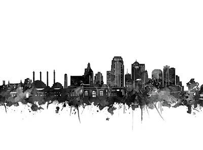 Digital Art - Kansas City Skyline Black And White by Bekim Art