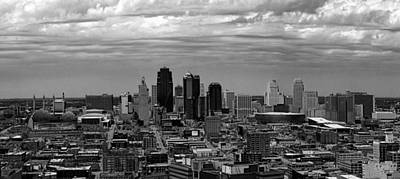 Photograph - Kansas City Skyline Black And White by C H Apperson