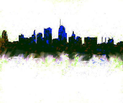 Kansas City Skyline Blue  Art Print by Enki Art
