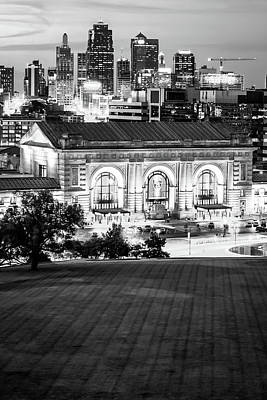 Photograph - Kansas City Skyline Cityscape - Vertical Black And White by Gregory Ballos