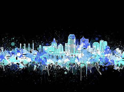 Digital Art - Kansas City Skyline Color Splatter 2 by Bekim Art