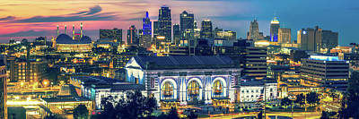 Photograph - Kansas City Skyline Dusk Light Panorama by Gregory Ballos