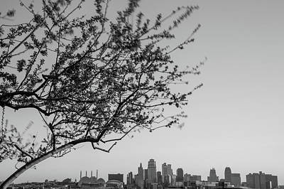 Photograph - Kansas City Skyline In Spring - Black And White Edition by Gregory Ballos