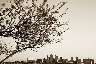 Photograph - Kansas City Skyline In Spring - Sepia Edition by Gregory Ballos