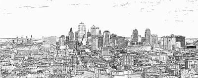Photograph - Kansas City Skyline Line by C H Apperson
