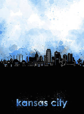 Digital Art - Kansas City Skyline Minimalism Blue by Bekim Art