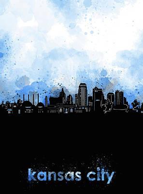 Digital Art - Kansas City Skyline Minimalism Blue by Bekim Art