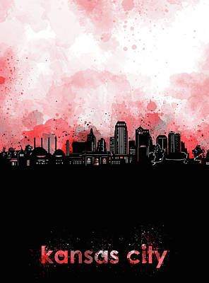 Digital Art - Kansas City Skyline Minimalism Red by Bekim Art
