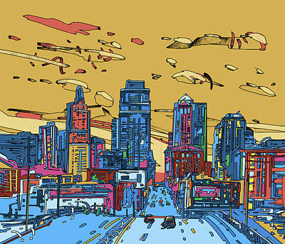 Digital Art - Kansas City Skyline Panorama 3 by Bekim Art