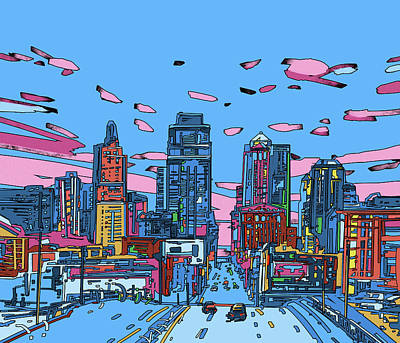 Digital Art - Kansas City Skyline Panorama 4 by Bekim Art
