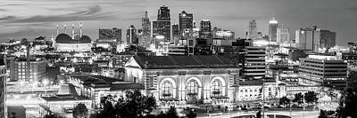 Photograph - Kansas City Skyline Panorama After Sunset In Black And White by Gregory Ballos