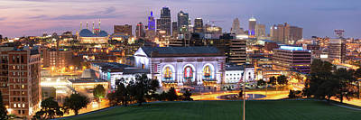 Photograph - Kansas City Skyline Panorama At Dusk by Gregory Ballos