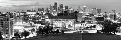 Photograph - Kansas City Skyline Panorama At Dusk In Black And White by Gregory Ballos