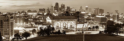 Photograph - Kansas City Skyline Panorama At Dusk - Sepia Edition by Gregory Ballos