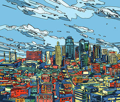 Built Structure Digital Art - Kansas City Skyline Panorama by Bekim Art