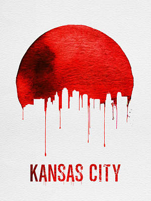 Kansas City Photograph - Kansas City Skyline Red by Naxart Studio