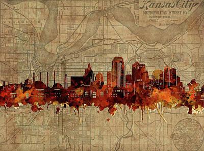 Digital Art - Kansas City Skyline Vintage by Bekim Art