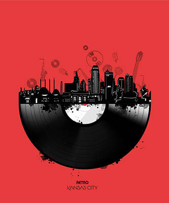 Royalty-Free and Rights-Managed Images - Kansas City Skyline Vinyl 4 by Bekim M