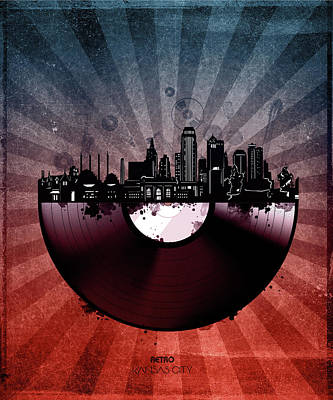 Gramophone Wall Art - Digital Art - Kansas City Skyline Vinyl 6 by Bekim Art