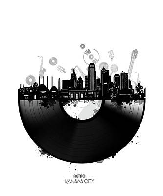 Digital Art - Kansas City Skyline Vinyl by Bekim Art